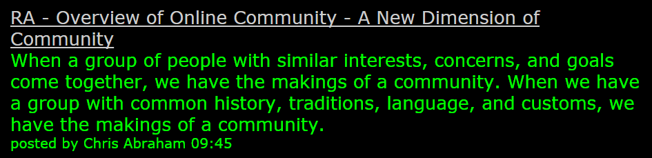 A New Dimension of Community