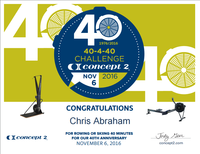 Just completed my 40-minute 40-4-40 Concept2 40th anniversary challenge!