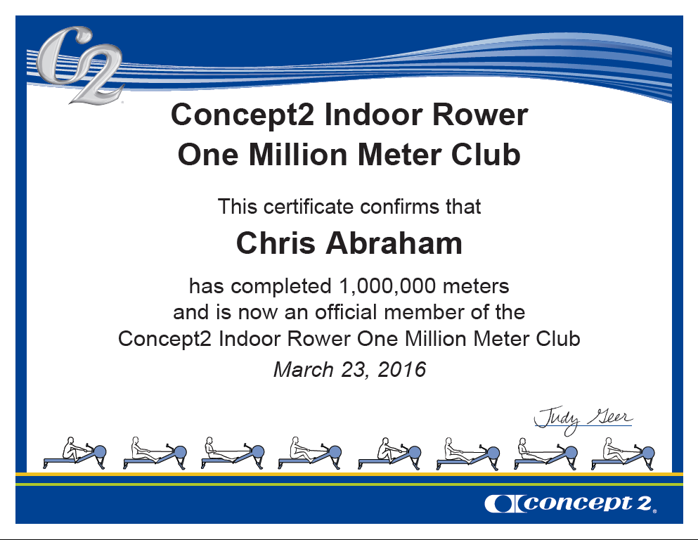 Member of the Concept2 Million Meter Club!
