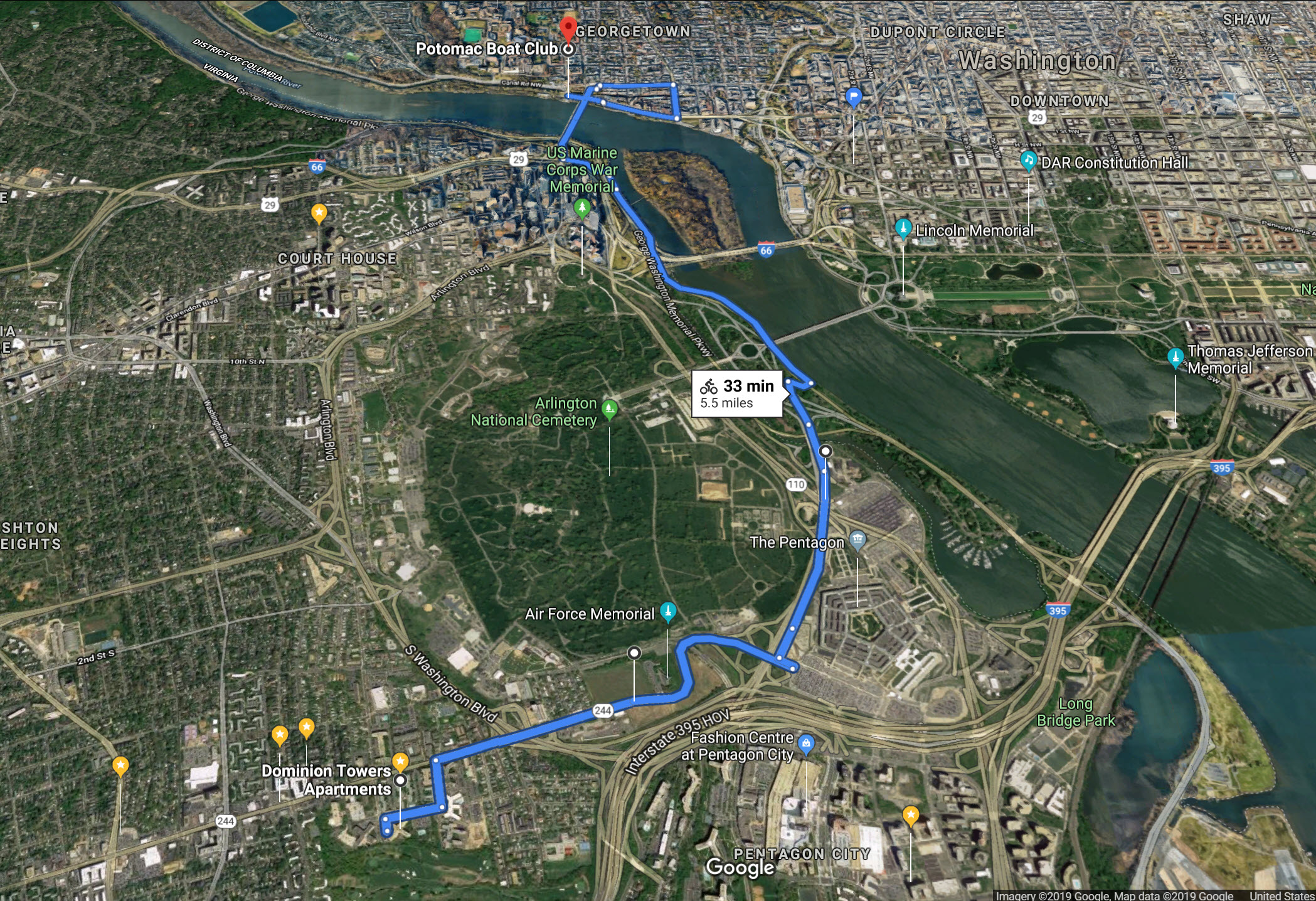 My proposed routes to commute to the Potomac Boat Club from Columbia Heights