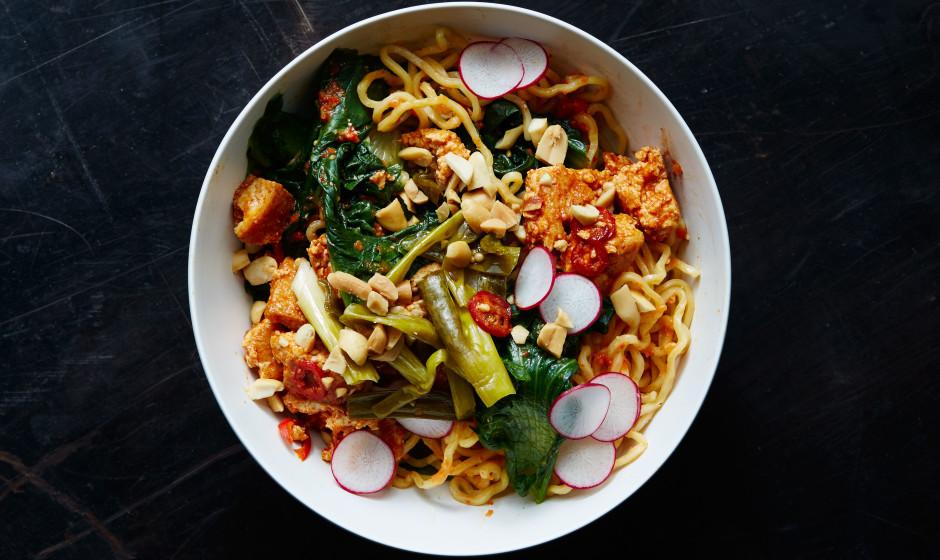 Spicy Tofu Ramen Noodle Bowl