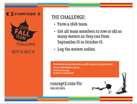 Today's Day 1 of Concept2 Fall Team Challenge 2017