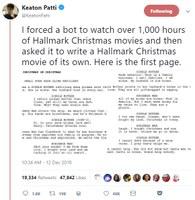 When a bot writes a Hallmark Christmas movie based on a 1,000 hours of Hallmark Christmas movies