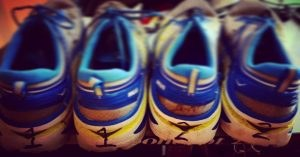 Chris Abraham's Hoka One One Bondi3 numbered running shoes