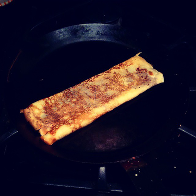Gruyère cheese crepe on a seasoned carbon blue steel crepe pans
