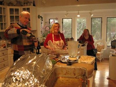 Ben Gottlieb, Joann Gottlieb, and Barbara Dunn cooling Christmas Dinner