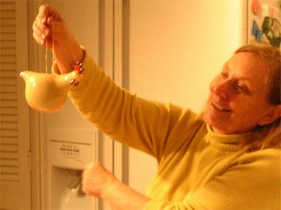 Joann Gottlieb with her Chicken