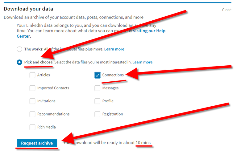 Reclaim your LinkedIn connections as contact emails via download your data