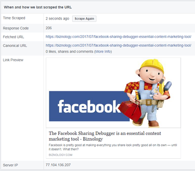 facebook developer open graph debugger