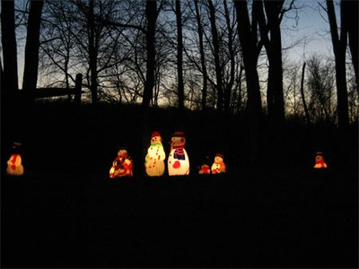 Self-illuminated Christmas snowmen in McLean, Virginia