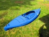 Blue plastic kayaks